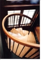 Spiral stairway to office loft